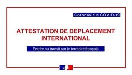 CORONAVIRUS - COVID-19 : attestation de déplacement international